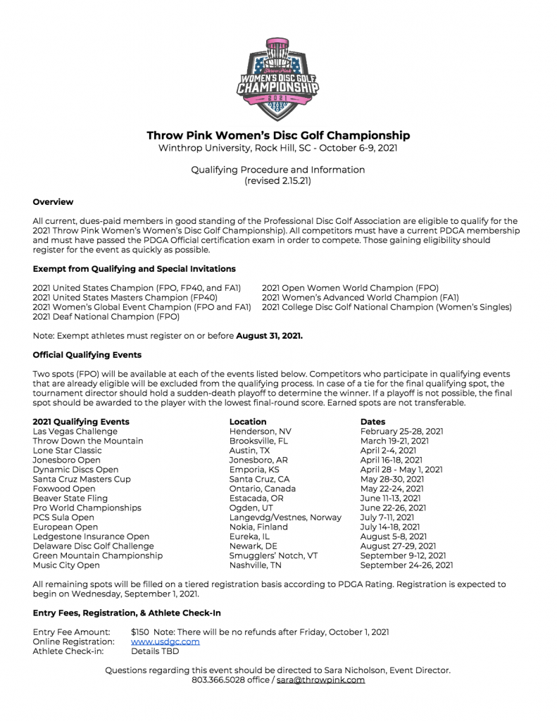 TPWDGC Qualifying Information 2020
